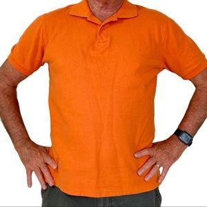 Men's large orange polo shirt, cotton pique